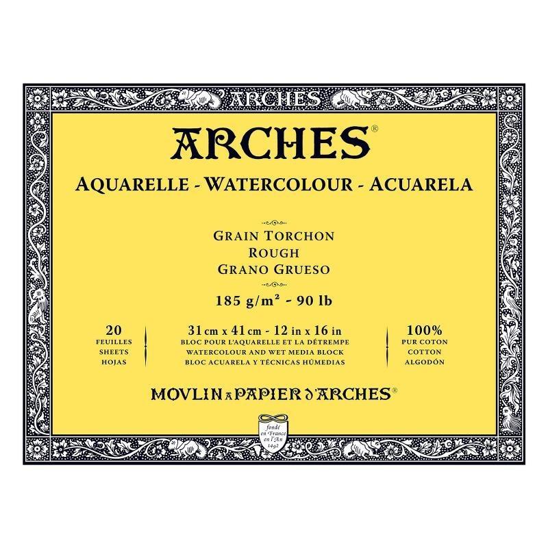 Arches Aquarelle Bianco Naturale, blocco collato 4 lati, 20 fogli, cm 31x41, grana torchon, 185gr/mq