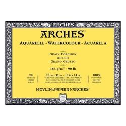 Arches Aquarelle Bianco Naturale, blocco collato 4 lati, 20 fogli, cm 26x36, grana torchon, 185gr/mq