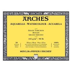 Arches Aquarelle Bianco Naturale, blocco collato 4 lati, 20 fogli, cm 23x31, grana torchon, 185gr/mq