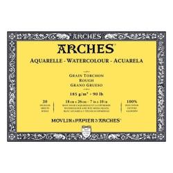 Arches Aquarelle Bianco Naturale, blocco collato 4 lati, 20 fogli, cm 18x26, grana torchon, 185gr/mq
