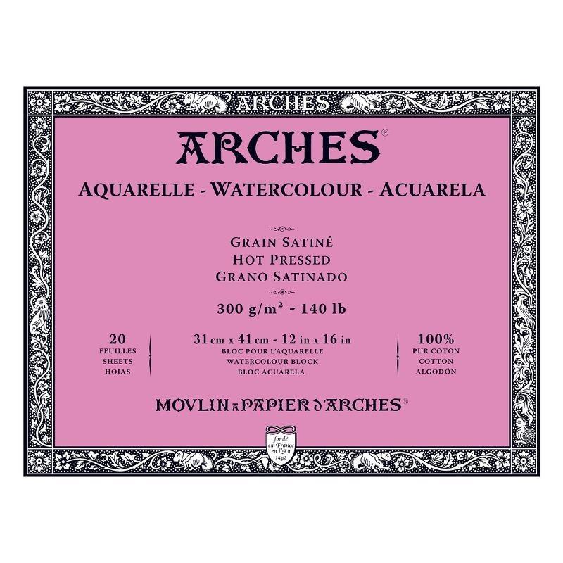 Arches Aquarelle Bianco Naturale, blocco collato 4 lati, 20 fogli, cm 31x41, grana satinata, 300gr/mq