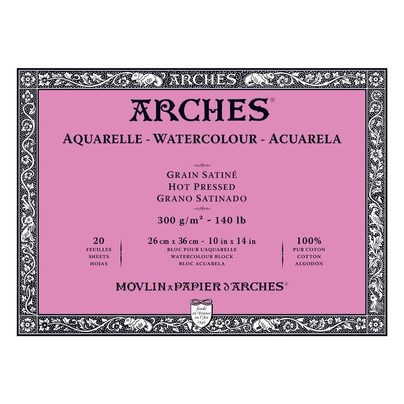 Arches Aquarelle Bianco Naturale, blocco collato 4 lati, 20 fogli, cm 26x36, grana satinata, 300gr/mq