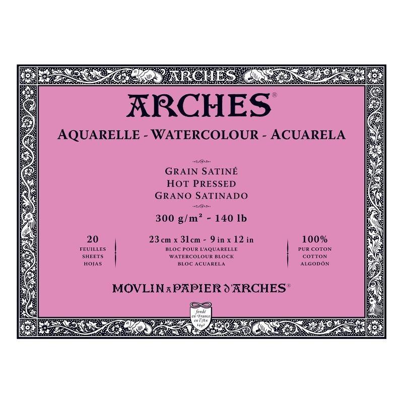 Arches Aquarelle Bianco Naturale, blocco collato 4 lati, 20 fogli, cm 23x31, grana satinata, 300gr/mq
