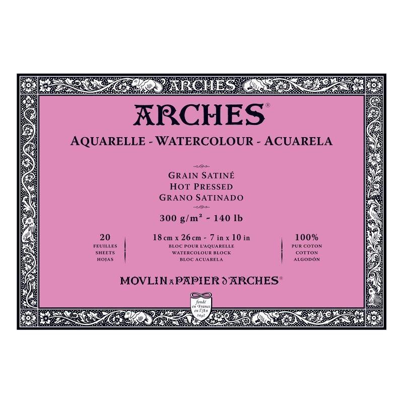 Arches Aquarelle Bianco Naturale, blocco collato 4 lati, 20 fogli, cm 18x26, grana satinata, 300gr/mq