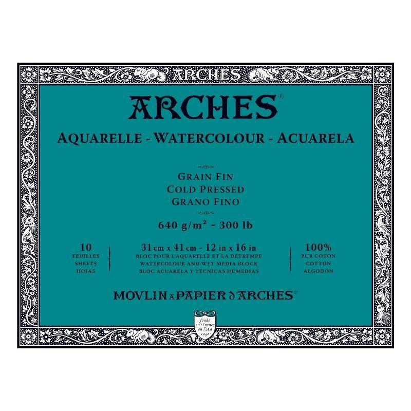 Arches Aquarelle Bianco Naturale, blocco collato 4 lati, 10 fogli, cm 31x41, grana fine, 640gr/mq