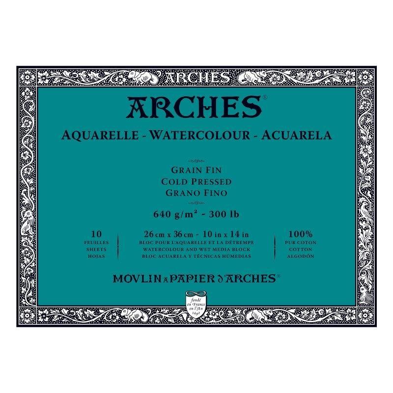 Arches Aquarelle Bianco Naturale, blocco collato 4 lati, 10 fogli, cm 26x36, grana fine, 640gr/mq