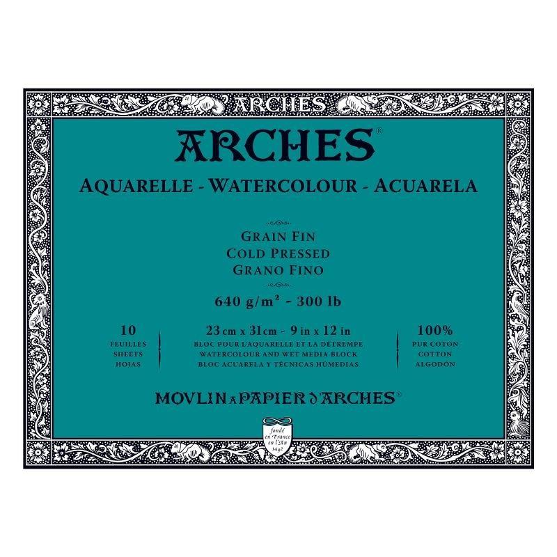 Arches Aquarelle Bianco Naturale, blocco collato 4 lati, 10 fogli, cm 23x31, grana fine, 640gr/mq