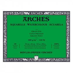 Arches Aquarelle Bianco Naturale, blocco collato 4 lati, 20 fogli, cm 31x41, grana fine, 300gr/mq