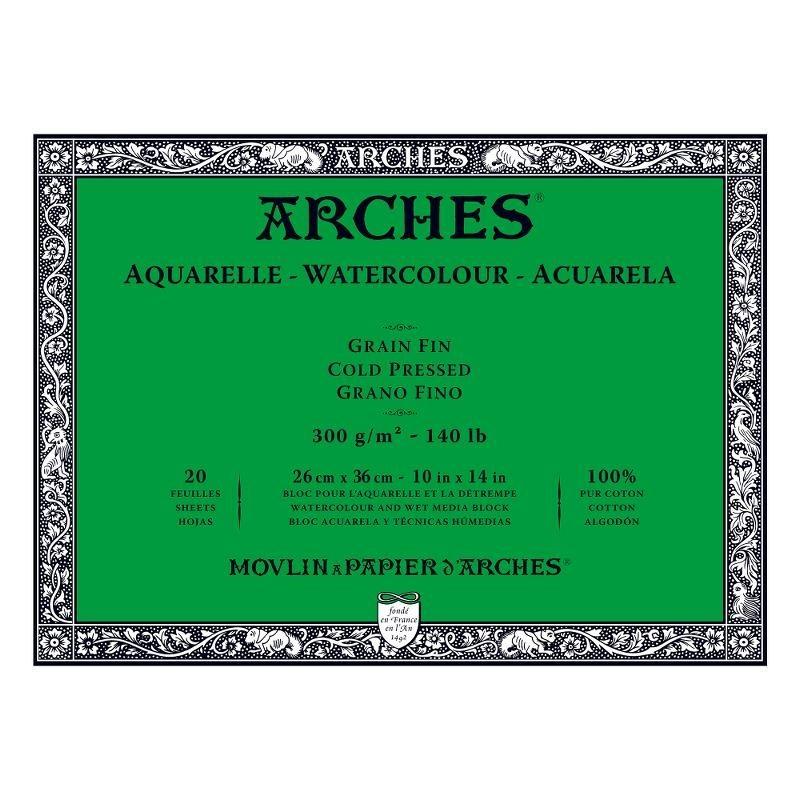 Arches Aquarelle Bianco Naturale, blocco collato 4 lati, 20 fogli, cm 26x36, grana fine, 300gr/mq