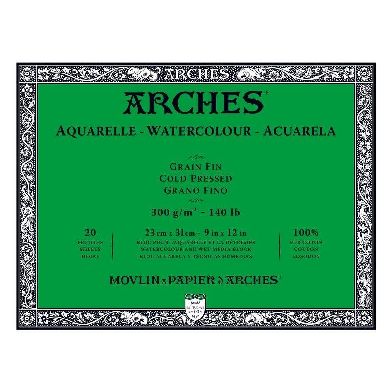 Arches Aquarelle Bianco Naturale, blocco collato 4 lati, 20 fogli, cm 23x31, grana fine, 300gr/mq