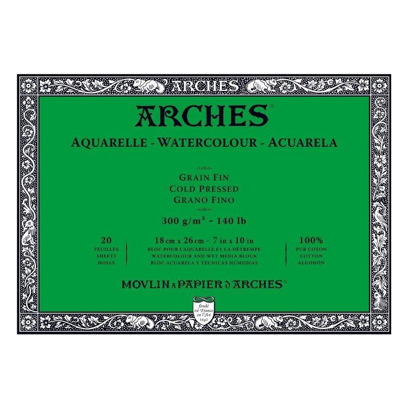 Arches Aquarelle Bianco Naturale, blocco collato 4 lati, 20 fogli, cm 18x26, grana fine, 300gr/mq