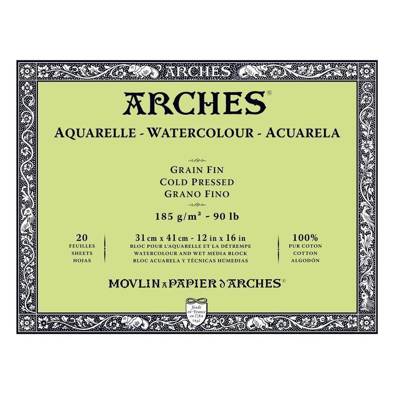 Arches Aquarelle Bianco Naturale, blocco collato 4 lati, 20 fogli, cm 31x41, grana fine, 185gr/mq