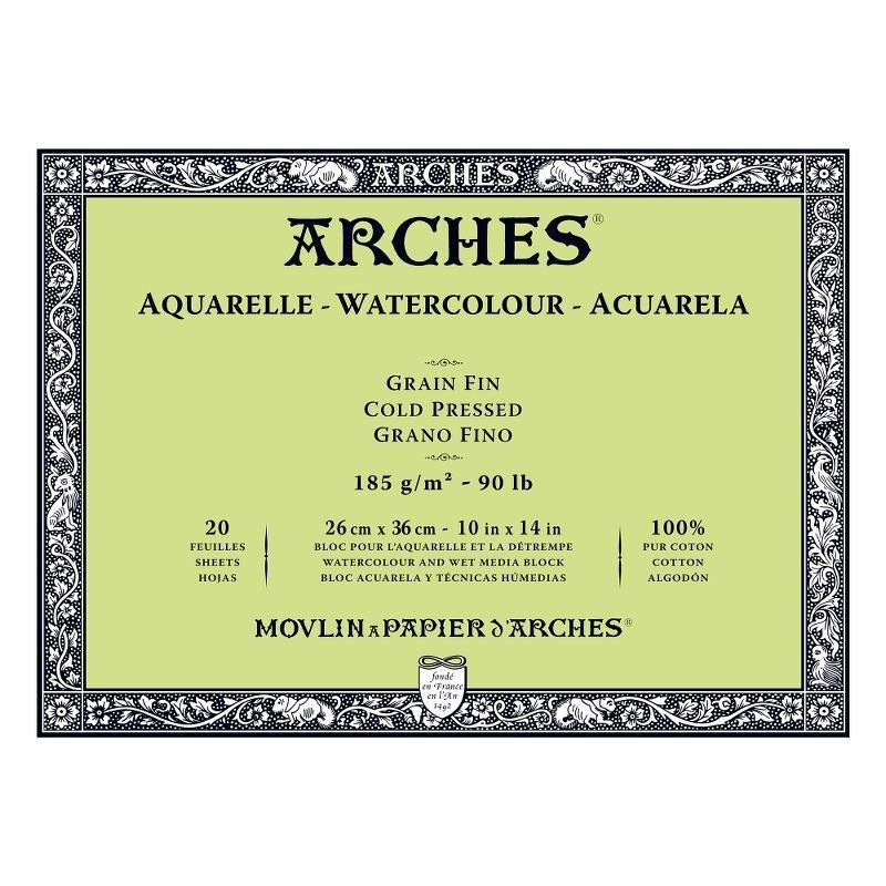 Arches Aquarelle Bianco Naturale, blocco collato 4 lati, 20 fogli, cm 26x36, grana fine, 185gr/mq