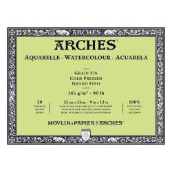 Arches Aquarelle Bianco Naturale, blocco collato 4 lati, 20 fogli, cm 23x31, grana fine, 185gr/mq