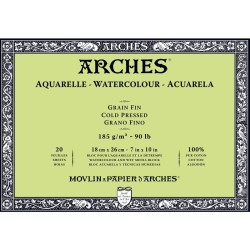 Arches Aquarelle Bianco Naturale, blocco collato 4 lati, 20 fogli, cm 18x26, grana fine, 185gr/mq