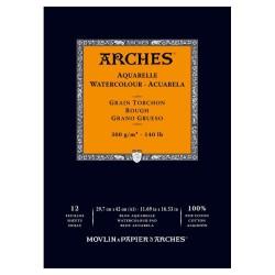 Arches Aquarelle Bianco Naturale, blocco collato 1 lato, 12 fogli, cm 29,7x42, grana torchon, 300gr/mq