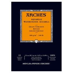 Arches Aquarelle Bianco Naturale, blocco collato 1 lato, 12 fogli, cm 21x29,7, grana torchon, 300gr/mq