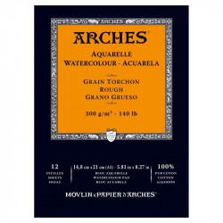 Arches Aquarelle Bianco Naturale, blocco collato 1 lato, 12 fogli, cm 14,8x21, grana torchon, 300gr/mq