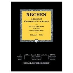 Arches Aquarelle Bianco Naturale, blocco collato 1 lato, 15 fogli, cm 29,7x42, grana torchon, 185gr/mq