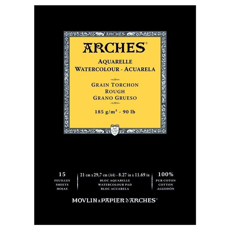 Arches Aquarelle Bianco Naturale, blocco collato 1 lato, 15 fogli, cm 21x29,7, grana torchon, 185gr/mq