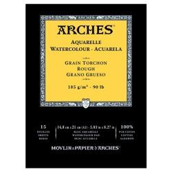 Arches Aquarelle Bianco Naturale, blocco collato 1 lato, 15 fogli, cm 14,8x21, grana torchon, 185gr/mq