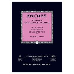 Arches Aquarelle Bianco Naturale, blocco collato 1 lato, 12 fogli, cm 29,7x42, grana satinata, 300gr/mq