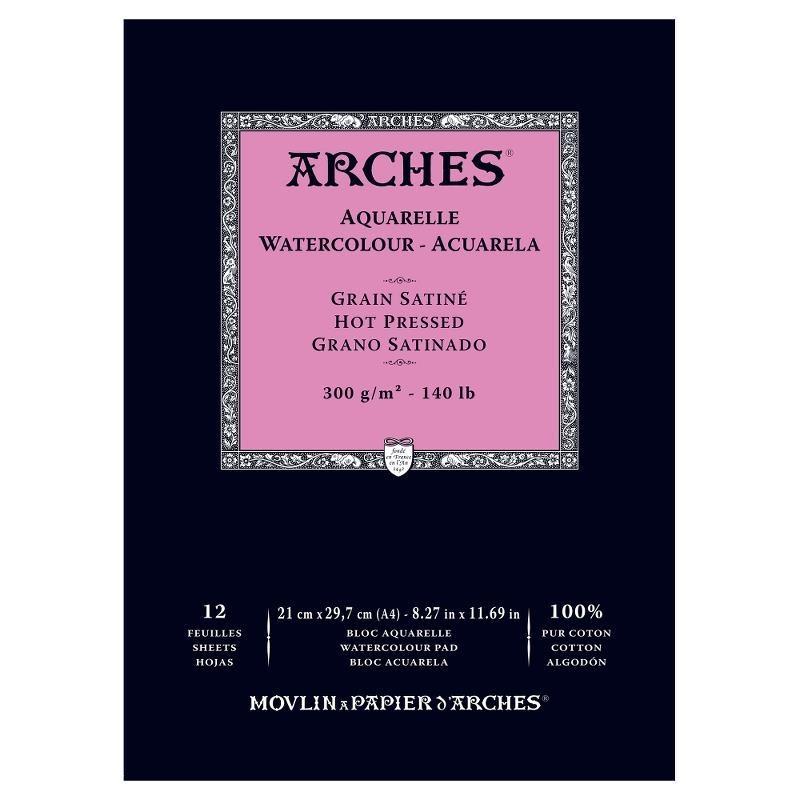 Arches Aquarelle Bianco Naturale, blocco collato 1 lato, 12 fogli, cm 21x29,7, grana satinata, 300gr/mq