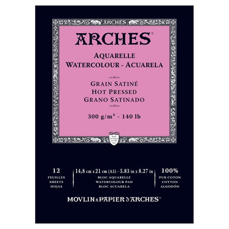 Arches Aquarelle Bianco Naturale, blocco collato 1 lato, 12 fogli, cm 14,8x21, grana satinata, 300gr/mq