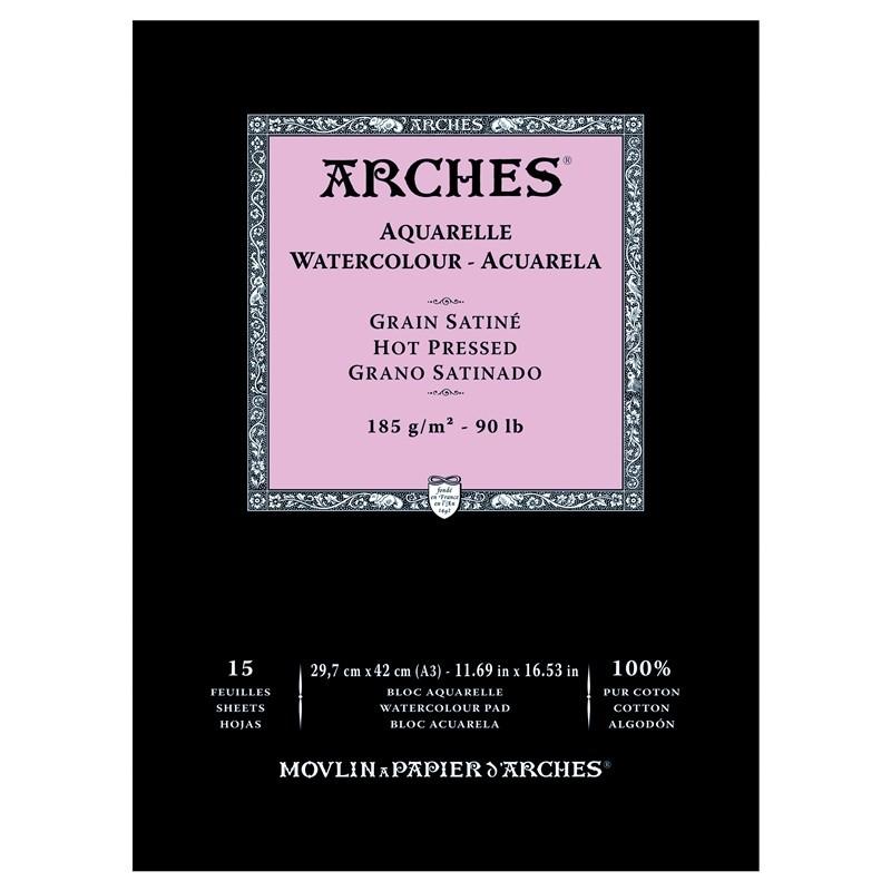 Arches Aquarelle Bianco Naturale, blocco collato 1 lato, 15 fogli, cm 29,7x42, grana satinata, 185gr/mq