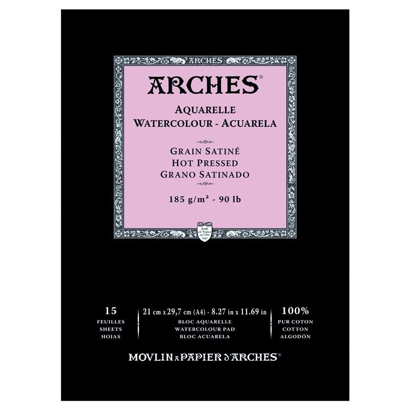 Arches Aquarelle Bianco Naturale, blocco collato 1 lato, 15 fogli, cm 21x29,7, grana satinata, 185gr/mq