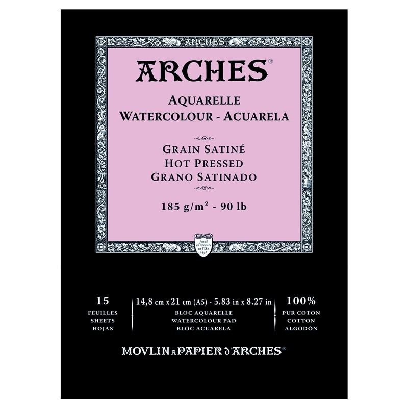 Arches Aquarelle Bianco Naturale, blocco collato 1 lato, 15 fogli, cm 14,8x21, grana satinata, 185gr/mq