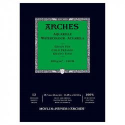 Arches Aquarelle Bianco Naturale, blocco collato 1 lato, 12 fogli, cm 29,7x42, grana fine, 300gr/mq