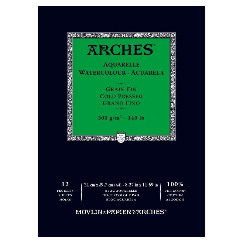Arches Aquarelle Bianco Naturale, blocco collato 1 lato, 12 fogli, cm 21x29,7, grana fine, 300gr/mq