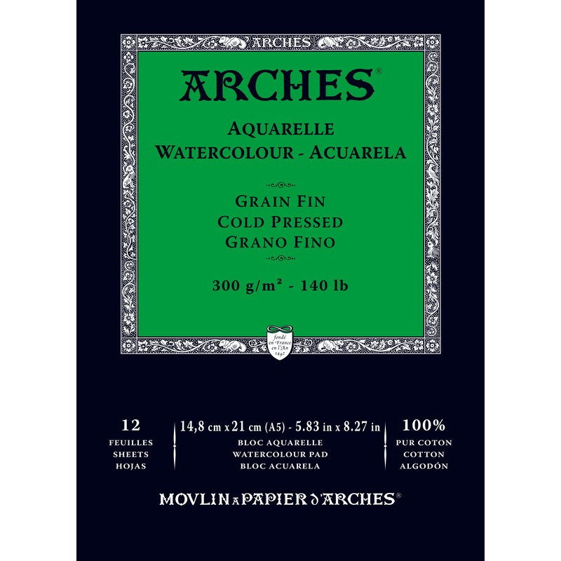 Arches Aquarelle Bianco Naturale, blocco collato 1 lato, 12 fogli, cm 14,8x21, grana fine, 300gr/mq