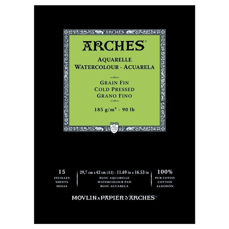 Arches Aquarelle Bianco Naturale, blocco collato 1 lato, 15 fogli, cm 29,7x42, grana fine, 185gr/mq