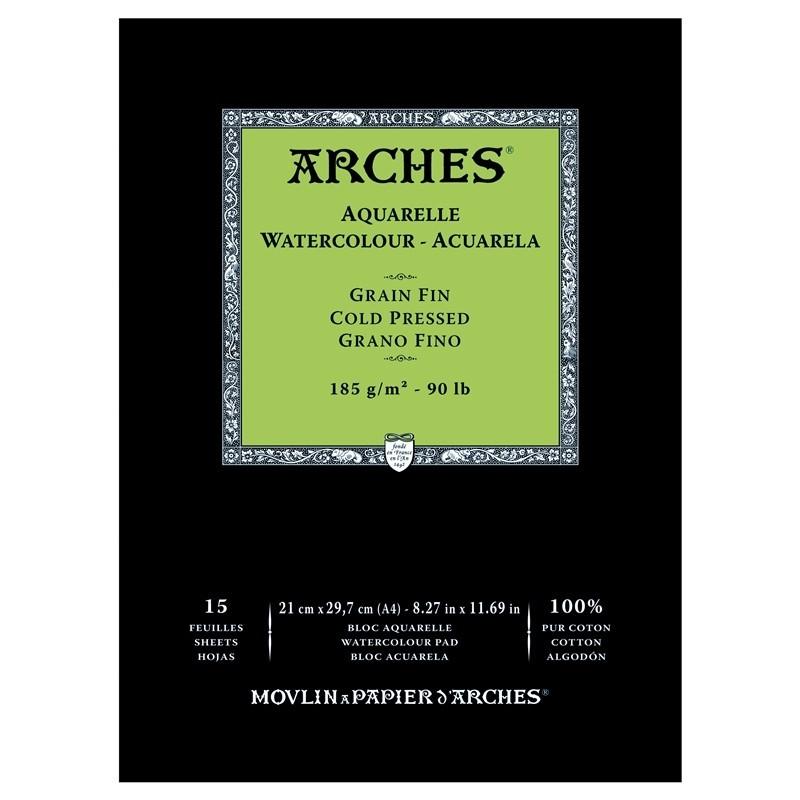 Arches Aquarelle Bianco Naturale, blocco collato 1 lato, 15 fogli, cm 21x29,7, grana fine, 185gr/mq