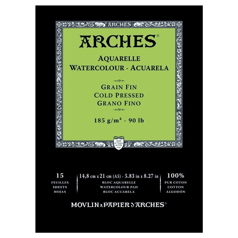 Arches Aquarelle Bianco Naturale, blocco collato 1 lato, 15 fogli, cm 14,8x21, grana fine, 185gr/mq