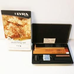 Scatola in metallo matite da disegno Lyra serie Rembrandt Sketching Set, con accessori