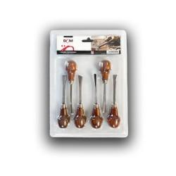Set 6 sgorbie in acciaio e manico in legno
